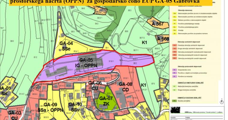 Poziv javnosti k oblikovanju izhodišč za pripravo občinskega podrobnega prostorskega načrta (OPPN)  za gospodarsko cono EUP GA-05 Gabrovka